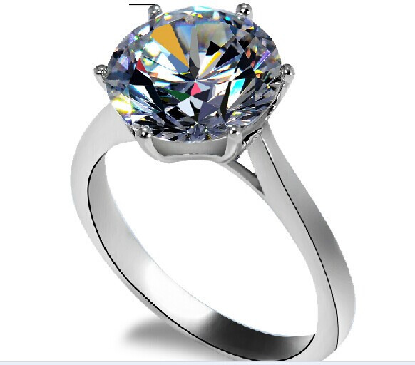 4CT Crown Jewelry Round Bright SONA Synthetic Diamond Ring Engagement Jewelry For Women Sterling Silver 18K White Gold Finish(China (Mainland))