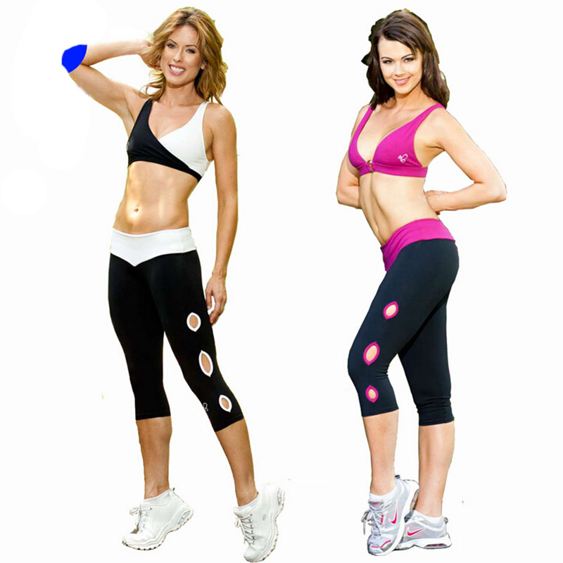 P106 Women Running Capris Pants Sports Yoga Tights Hollow ...