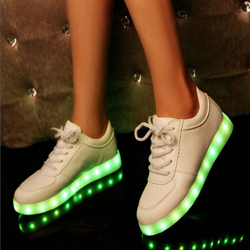 Гаджет  Colorful Glow Luminous Led Shoes Basket Femme Unisex USB Rechargeable Light For Men Women Flat Shoes None Обувь