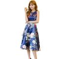 2016 new summer models Peony Retro High waist big dress Waist Thin dress Wild summer dress