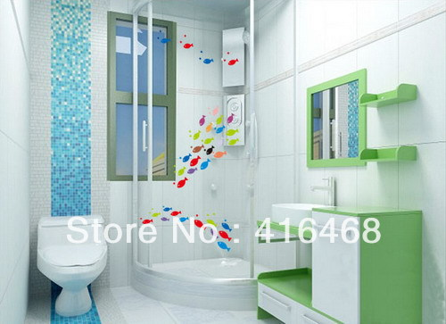 Free shipping mixed colors 20 fish glass stickers bathroom - Sticker carrelage salle de bain ...