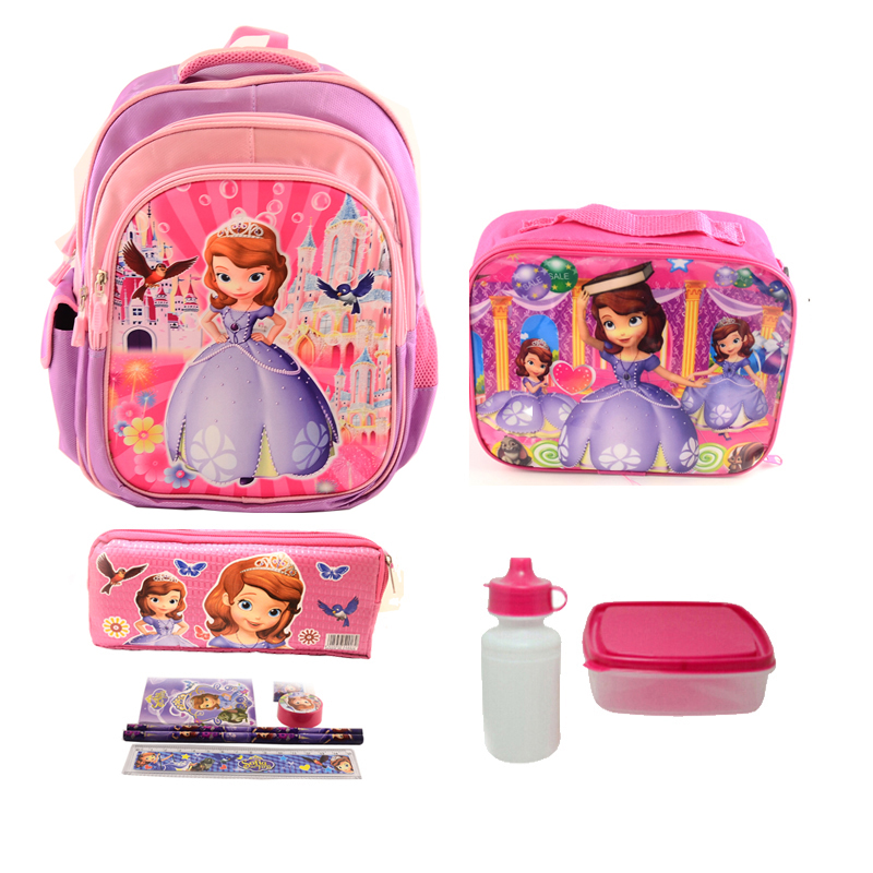 1 set 16 inch school bags for children cute character sofia school bag for girls mochila escolar High Quality Nylon backpack(China (Mainland))