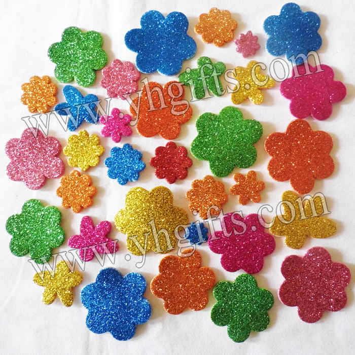 200PCS/LOT.Glitter flower stickers,Kids toy.Scrapbooking kit.Early educational DIY.Cheap.kindergarten craft(China (Mainland))