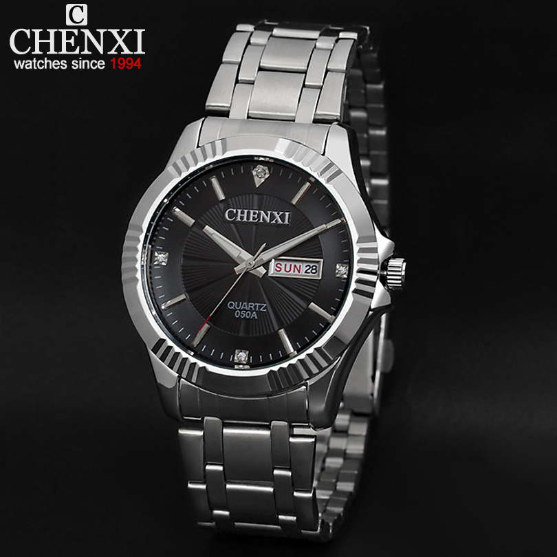 Brand CHENXI Full Stainless Steel Luxury Watch For Men Double calendar display (date/weeks) Business Watches Relogio Rolojes 050(China (Mainland))