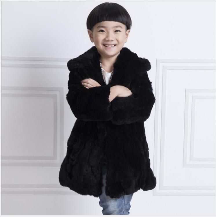 Фотография 2016 Children Rabbit Fur Coat Autumn Winter Warm Boys Rabbit Fur Coat Long Section Hooded Jacket Boy Solid Coat Free Shopping