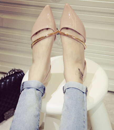 2016 Summer New Fashion Women Casual Flat Ballet Pointed Comfortable Sequins Metal Straps Zapatos Mujer Women Gold Flat Shoes(China (Mainland))