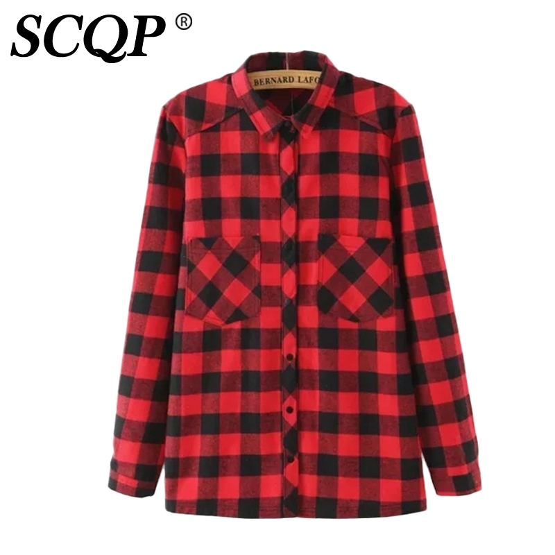 Popular red flannel shirt buy cheap red flannel shirt lots Womens red tartan plaid shirt