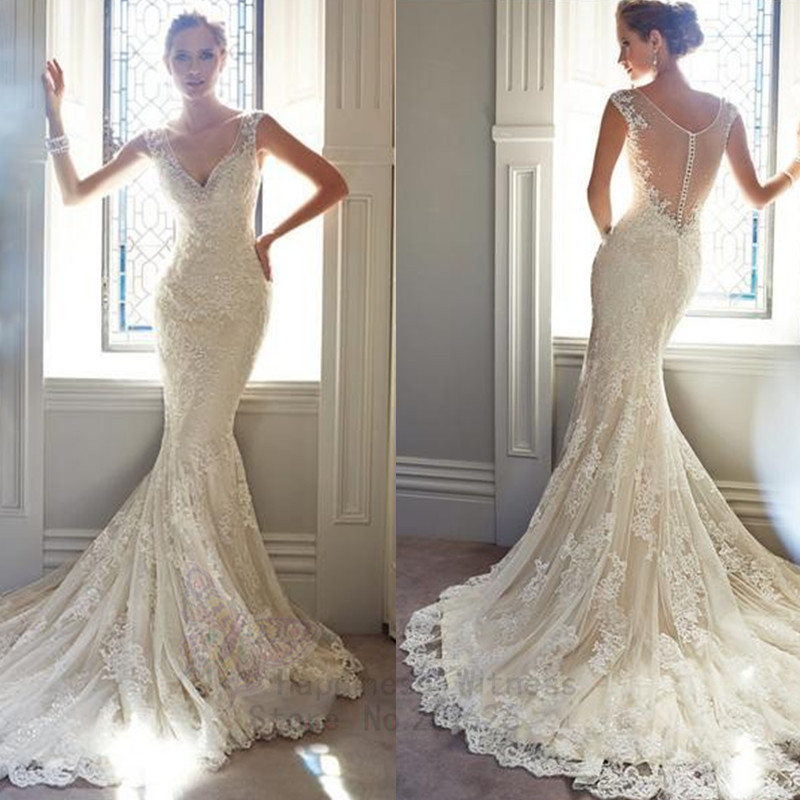Sexy Mermaid Wedding Dress V-neck Tank Chapel Train Adult Little Costumes Floor Length Lace 2014 - One world store