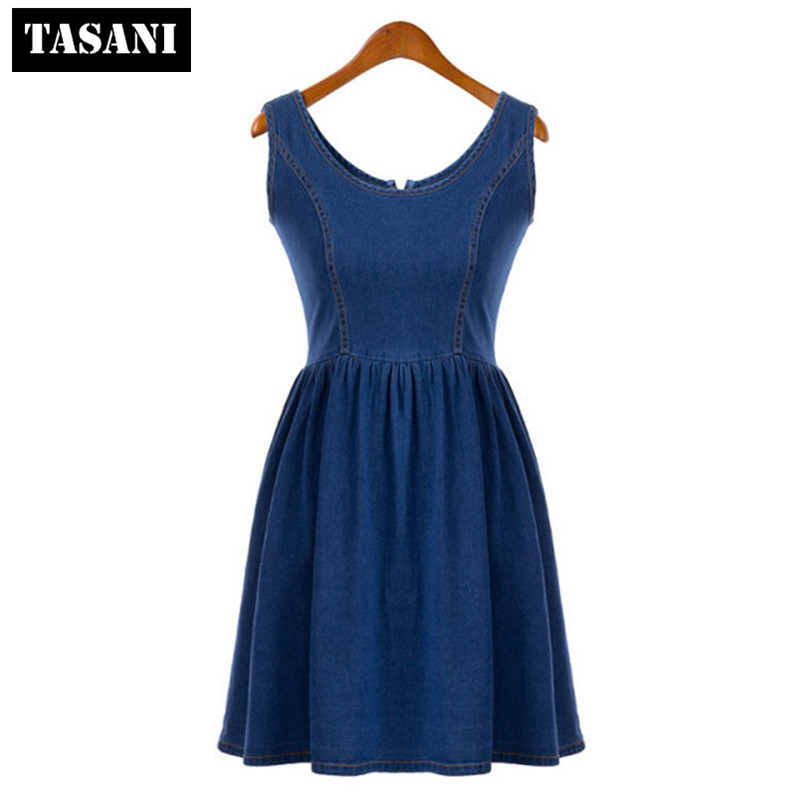 2015 New Fashion Summer Canvas Slim Casual Women Pleated Dress American Style O-Neck Sweet I3067 - TASANI store
