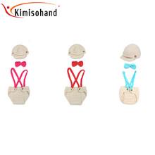 Kimisohand 2015 New Arrival Fashion Newborn Baby Bow Tie Three-piece Knit Hat Costume Phot Free Shipping&Wholesale(China (Mainland))