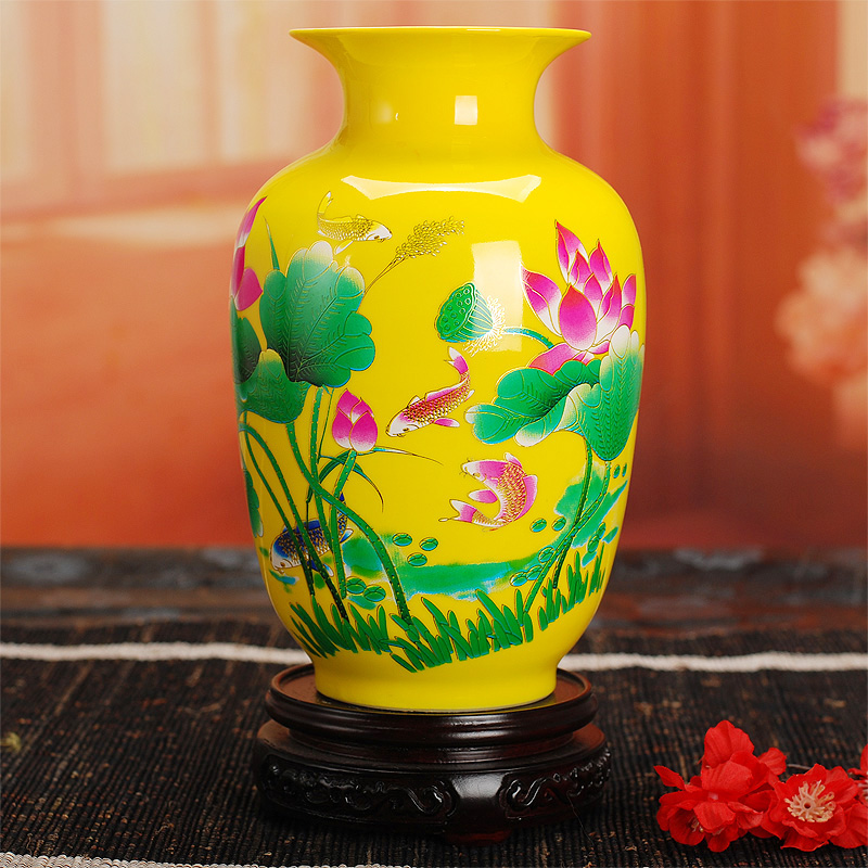 281 jingdezhen ceramic red vase gold wedding gifts home decoration crafts(China (Mainland))