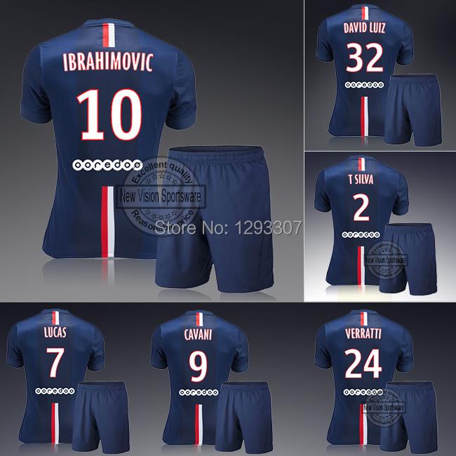 2014 15 Home Ibrahimovic Cavani David Luiz Silva Lucas Verratti Soccer Jersey Set Men Sports Shirt Outfit Football Kit Uniform(China (Mainland))