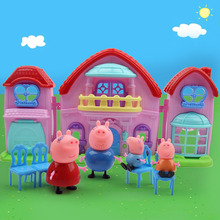 Miniature Pig Dollhouse Furniturechild Girl Toys Pink Pig  Set Pretend Play(China (Mainland))