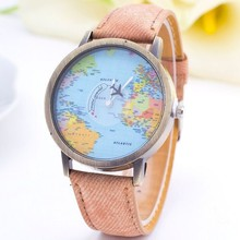 World Map Airplane Pattern Watch Women Wristwatch 2015 New Fashion Casual Quartz Watch Fabric Leather Femenino