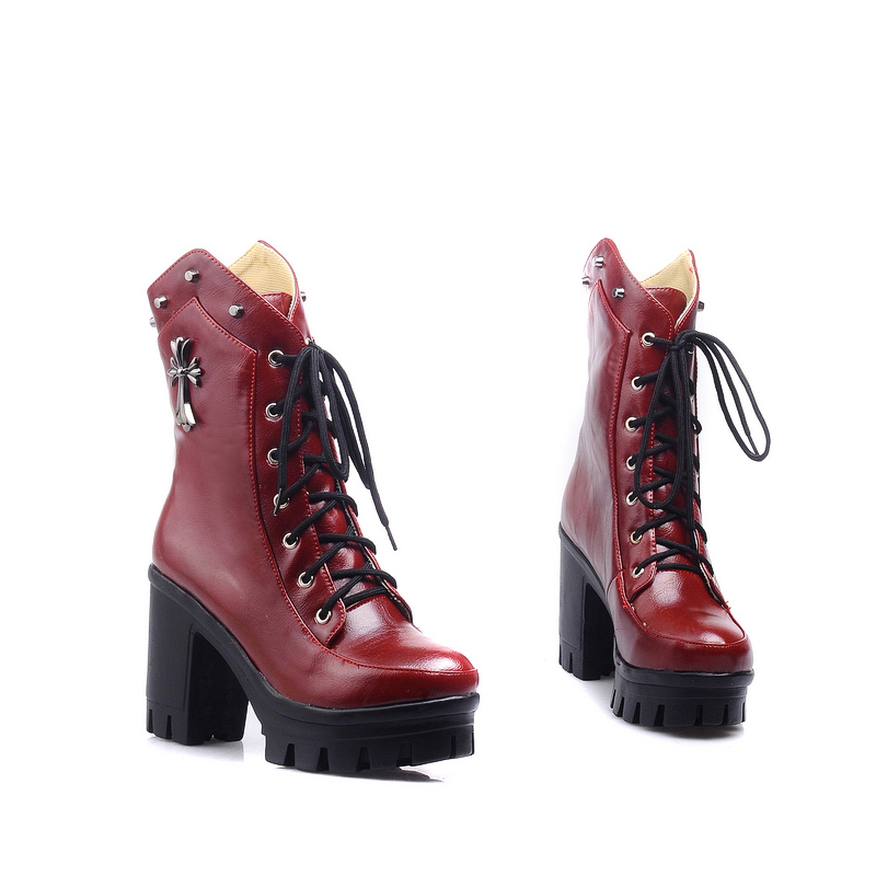 size 34-43 2016 Autumn Winter Ankle Boots New Fashion Platform Women Boots Sexy High Heels Casual Pumps Ladies Shoes Woman