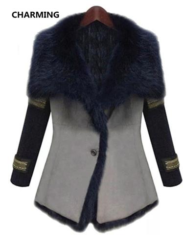 Ipj 2014 autumn and winter fashion medium-long plus size clothing overcoat autumn woolen outerwear female winter fur