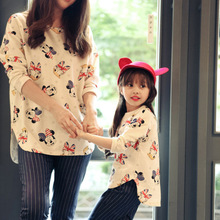 2016 spring new children's clothing a generation of fat cartoon duck cotton shirt Family fitted mother of women Family PackQW-4