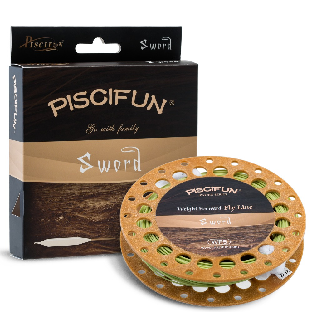Piscifun Sword Moss Green/Fluorescent Yellow Weight Forward Floating Fly Fishing Line with Welded Loop WF3 4 5 6 7 8wt 100FT(China (Mainland))