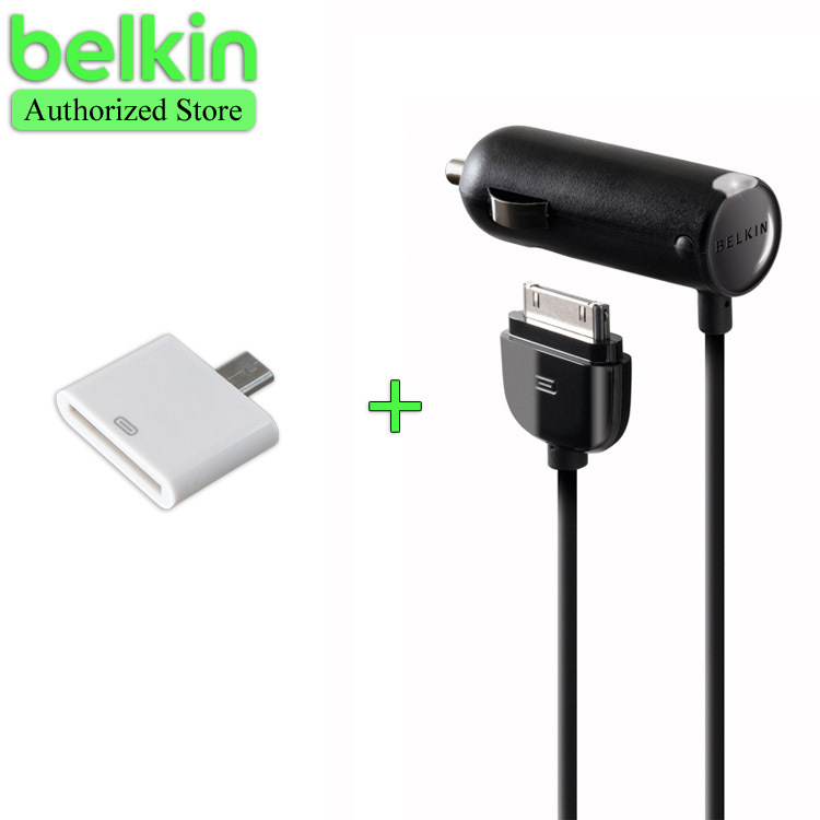 Promotion! Belkin Original MFi Certified Car Charger for iPhone 4S (Additional 30 pin to Micro USB Adapter as gift) with Package(China (Mainland))