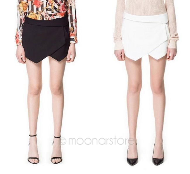 New Summer Fashion Elegant OL Lady Black white Asymmetrical Geometric shorts Slim stylish casual short pants(China (Mainland))