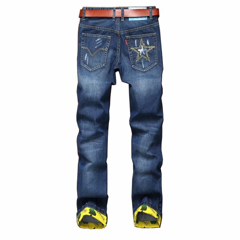 2017 High Quality Fashion Jeans Young Pants Male Embroidery Ripped Jeans For Men Slim Straight Designer Denim Biker Jeans