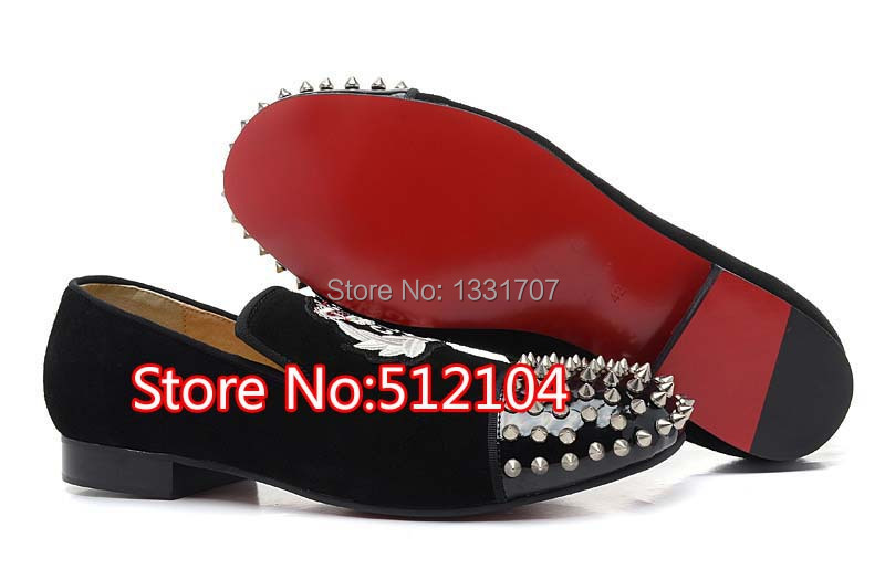 Brand Embroidery Suede Leather Discount British Style Men Fashion Street Spikes Studs Shoes Red Bottom Wholesale(China (Mainland))