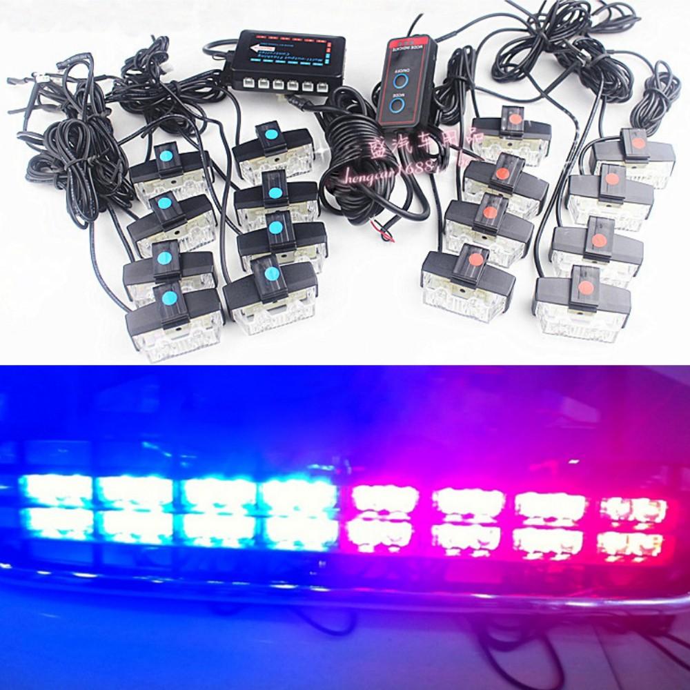 8 in 1 / 16 in 1 Led string strobe light Meteor shower warning flashing Emergency Car DIY lights Grille Aux Daytime running lamp(China (Mainland))