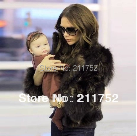 new arrive 2014 100% raccoon dog fur jacket Natural Fur coat Victoria Beckham style - Qiuchen Factory Outlets store