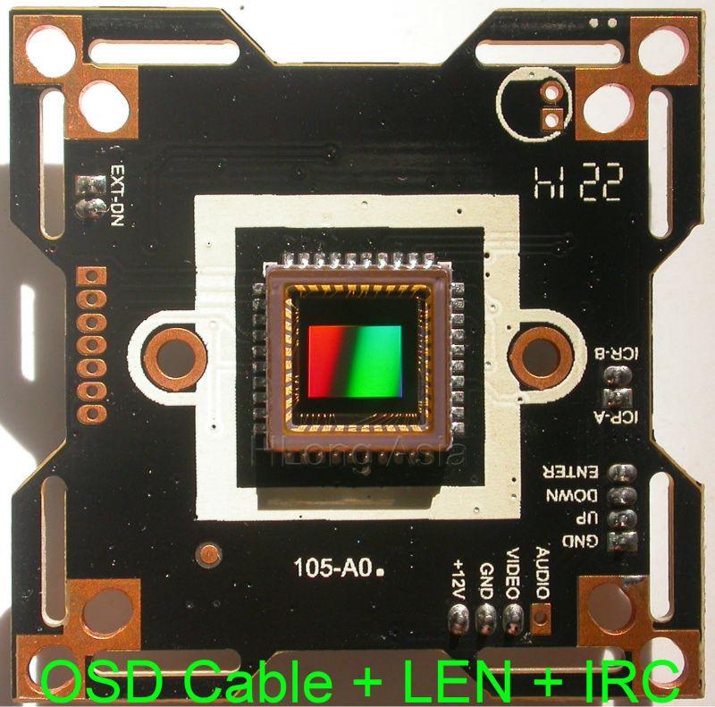 "WDR 1/3"" CMOS CCTV camera module chip board ClairPixel CP8108, 800TVL +OSD cable + LEN + IRC.(China (Mainland))"