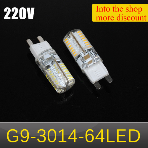 NEWEST LED Crystal lamps G9 6W 3014 SMD 64 LED Corn Bulb pendant lights 220V Spot light Silicone Chandelier COB Droplight 1Pcs(China (Mainland))