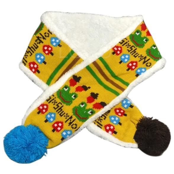 New Style Baby Kids Cartoon Frog Pattern Scarf Winter Woolen+Velvet Knitted Muffler TOP(China (Mainland))