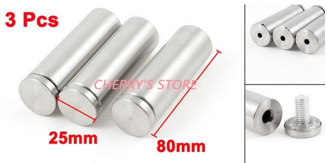 3 Pcs Hardware Parts Glass Door Railing Frameless Standoff Holder 80mm Length(China (Mainland))