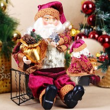High Quality 35cm Christmas Sitting Santa Claus Doll Figurine Toy Home Room Ornament Decoration Decor gift(China (Mainland))