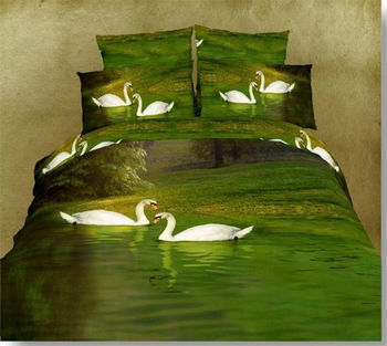 """Free delivery neonatal home accessories printing 100% cotton four piece of 3 d bedding set """"swan lake"""""""