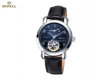 Man's Black Leather strap Stainless Steel Skeleton Mechanical Watch For Man Manual Mechanical Wrist Watch Free Shipping