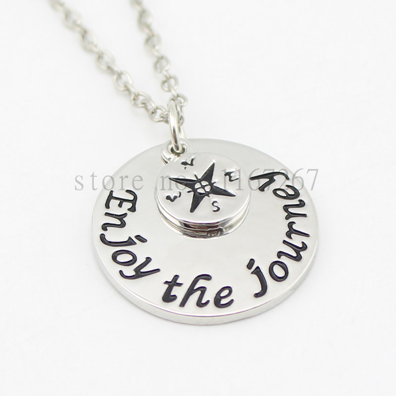 "2015 Hot ! handstampe Jewelry Inspired Jewelry ""Enjoy The Journey"" Necklace Compass silver Pendant necklace Graduation Gift(China (Mainland))"