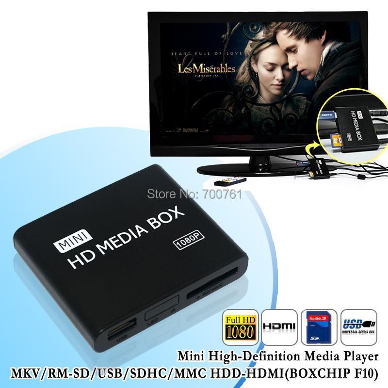 10pcs New mini Media Player 1080P Full HD multimedia player with IR remote support MKV/RM-SD/USB/SDHC/MMC HDD-HDMI(BOXCHIP F10)(China (Mainland))
