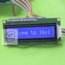 2pcs 1601 16*1 16x1 Character LCD Module LCM Blue White SPLC780D 80*36*11.3CM 5.0V for Arduino(China (Mainland))