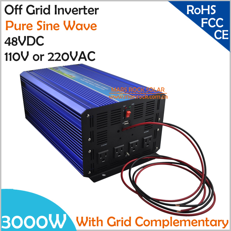 3000W DC48V Off Grid Pure Sine Wave Solar or Wind Inverter, City Electricity Complementary Charging function with LCD Screen<br><br>Aliexpress