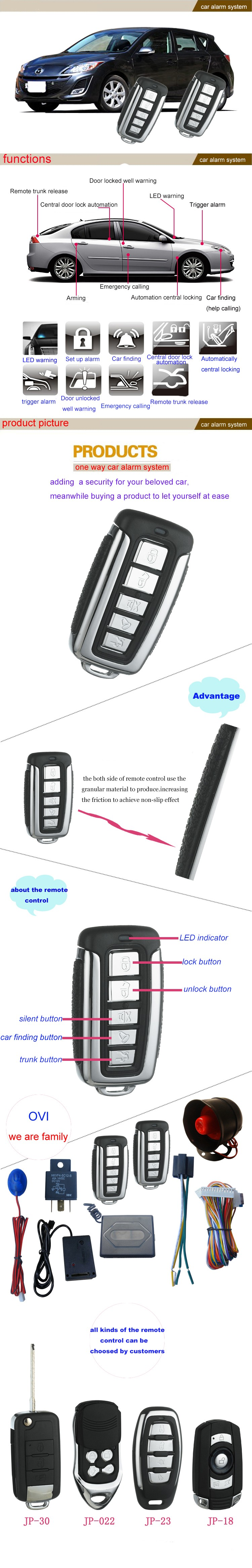 One Way Car Alarm System with Central Door Locking System Anti-hijacking Car Alarm System