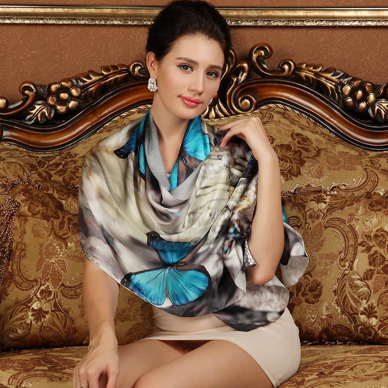 2016 spring high quality 100% real silk Scarf Shawl wrap hijab for lady women female fashion Scarves 175*52cm(China (Mainland))