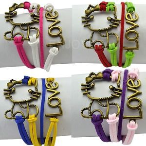 New Fashion Retro Cute Kitty Cat and Love Pattern Charming Bracelet Wrist Rope #2014 Free Shipping 2015(China (Mainland))