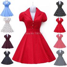 New Designer Robe Short Womens Summer 50s Rockabilly Swing Pinup Dance Wedding Party Casual Vintage Dresses Polka Dot Dress 6089(China (Mainland))