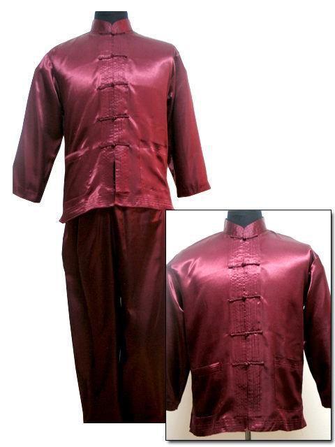 Бургундская новых шелковый атлас рубашка брюки кунг-фу костюм размер L XL XXL бесплатная ...