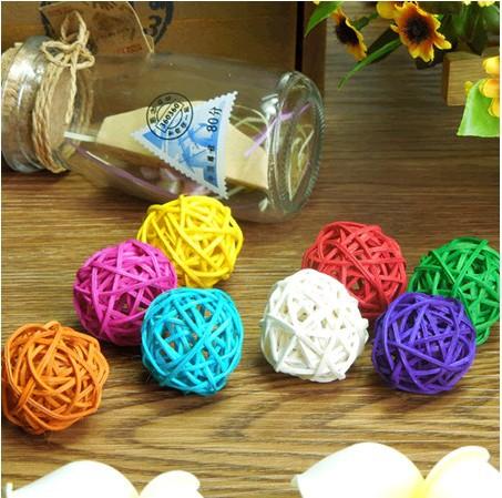 50pcs/lot 3cm Mix color Wedding Decorative Rattan Ball,Christmas Decor Home Ornament / diameter Home Decoration(China (Mainland))