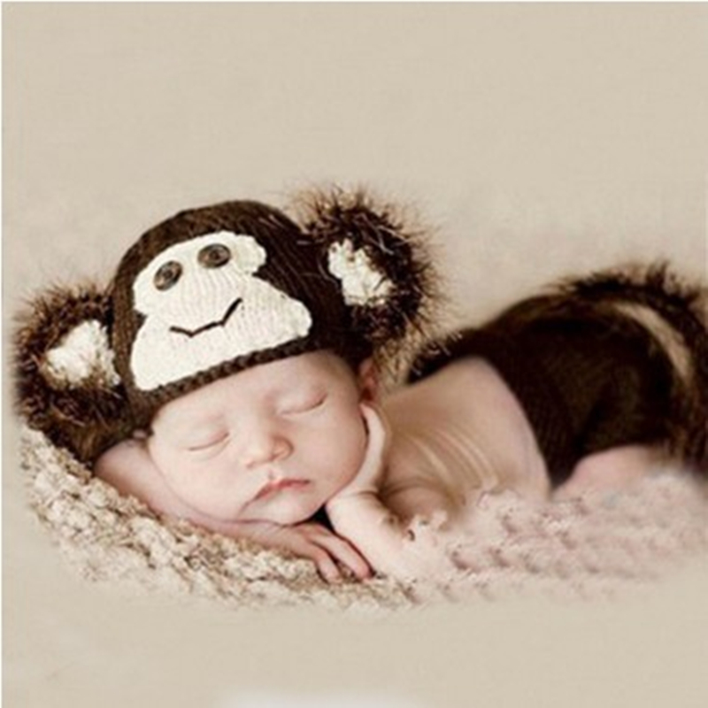 2016 Monkey Model Clothing Handmade Crochet Outfits Baby Hat And Shorts Set Newborn Photography Props Baby Muts(China (Mainland))