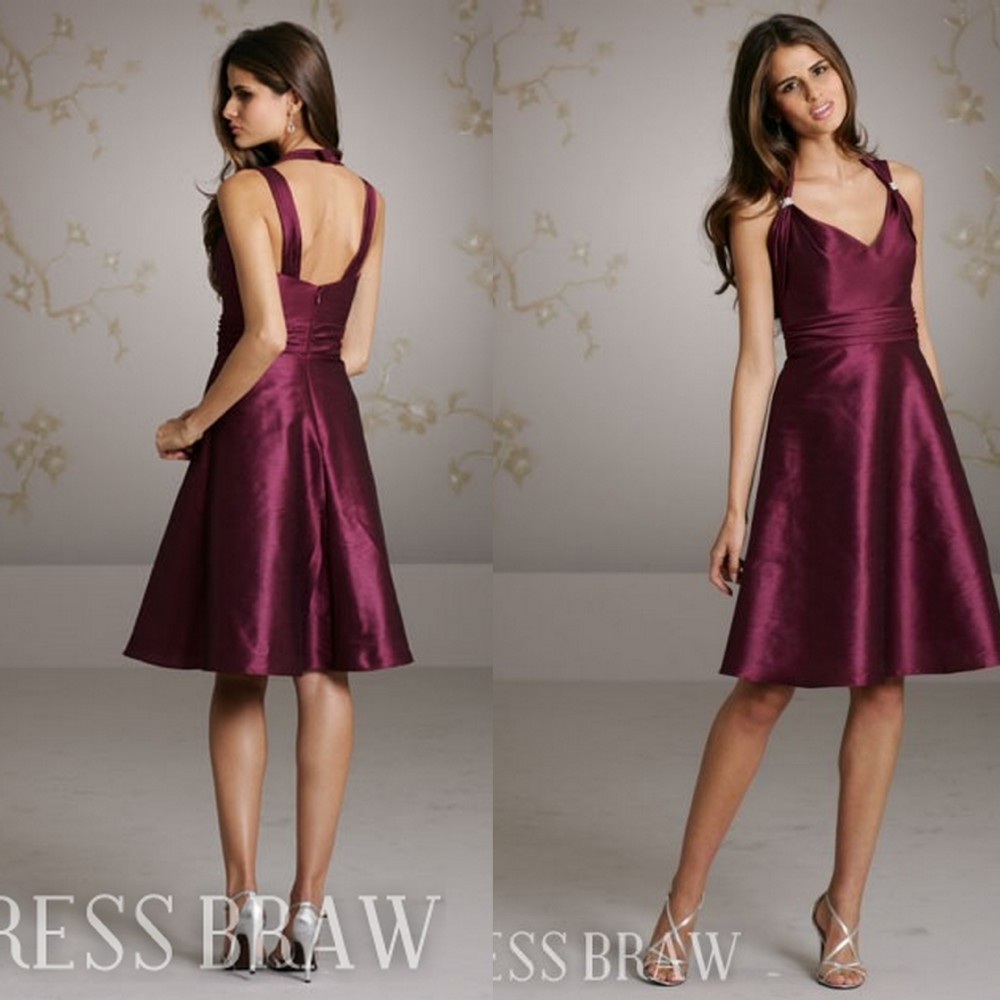 Buy red wine halter top bridesmaid dress for Wine colored wedding dresses