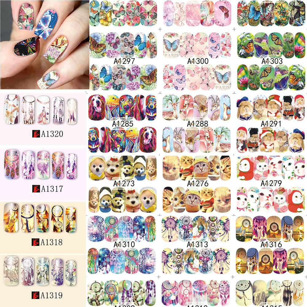 SWEET TREND 48Sheets Beauty Full Wraps Nail Art Watermark Decals Windmill/Feather/Butterfly/Cat Nail Art Sticker DIY A1273-1320