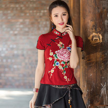 2016 Vintage Folk-Custom T-shirt Women Chinese Traditional Embroidery T Shirts Casual Top Tee Female Clothing (China (Mainland))