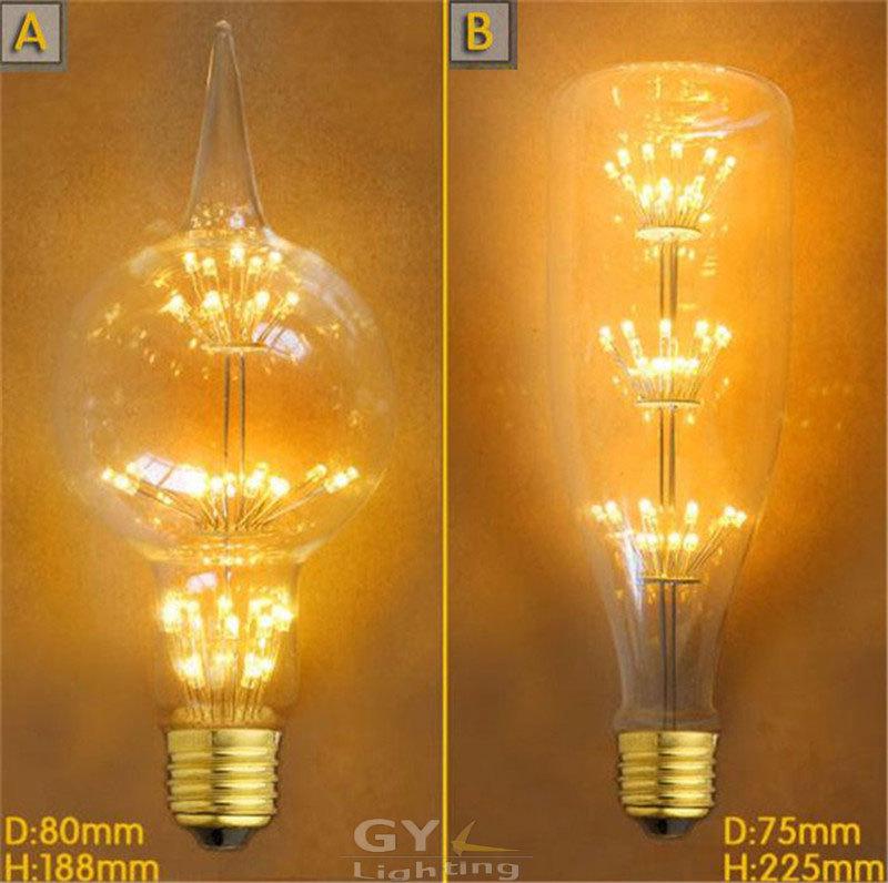 110-240V 3W LED Tree E27 Edison Globe Bottle Light Bulb 2300K creative decoration clear glass chrysanthemum filament 2015 New(China (Mainland))
